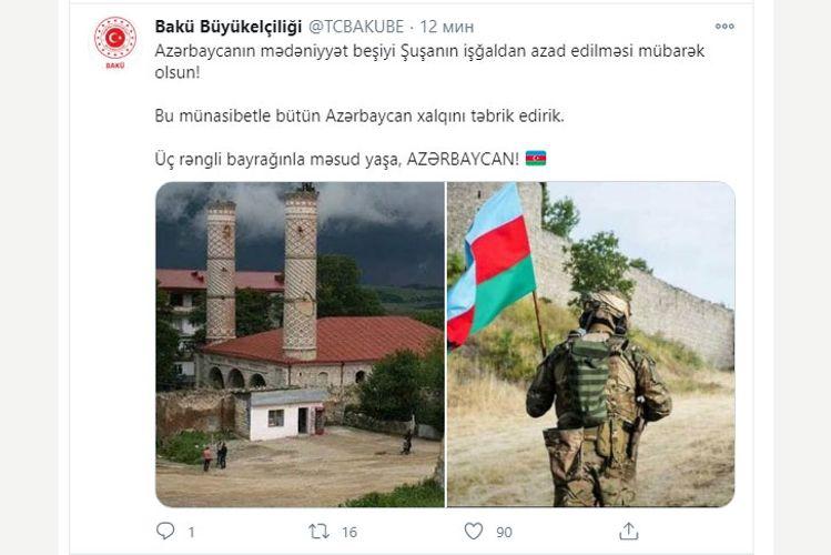 Türkiyə Səfirliyi: Azərbaycanın mədəniyyət beşiyi Şuşanın azadlığı mübarəkdir!