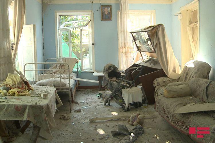 Прошлой ночью армяне выпустили снаряд по селу Гарадаглы Агдамского района, 2 дома полностью разрушились - ФОТО