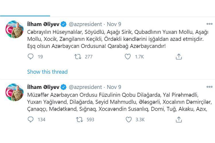 Освобождены от оккупации 6 сел Физулинского района, 4 села Ходжалинского, 5 Ходжавендского, 3 Джабраильского, 3 Губадлинского и 2 Зангиланского района