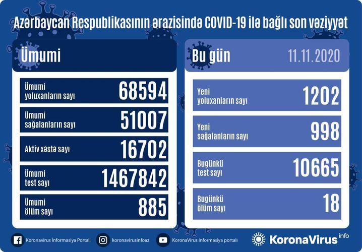 В Азербайджане выявлено еще 1202 случая заражения коронавирусом, 998 человек вылечились, 18 скончались