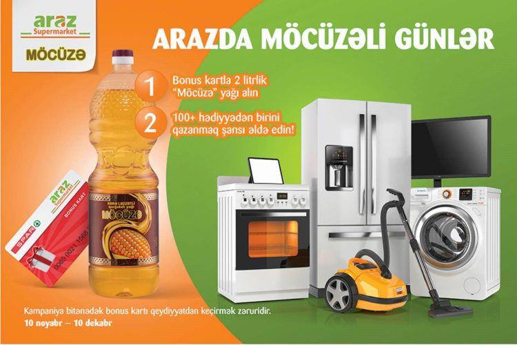 """""""Araz"""" supermarketlərində """"Möcüzəli Günlər"""" lotereyasına start verilib"""
