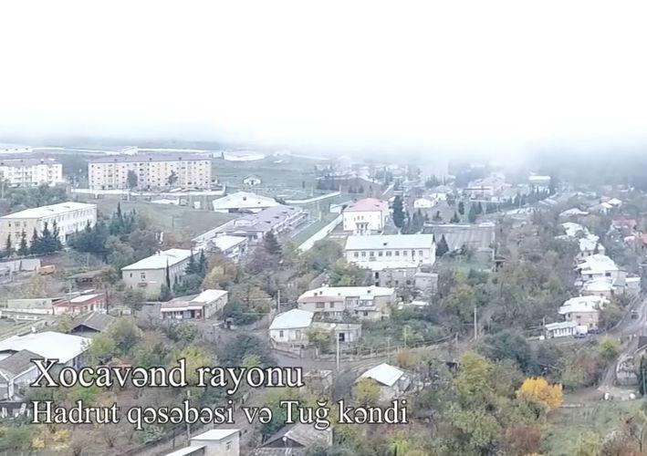 Xocavənd rayonunun işğaldan azad olunan Hadrut qəsəbəsi və Tuğ kəndinin havadan videogörüntüsü - VİDEO