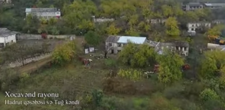 Azerbaijani MoD releases  areial video of the liberated from occupation Hadrut settlement and Tug village of Khojavend region