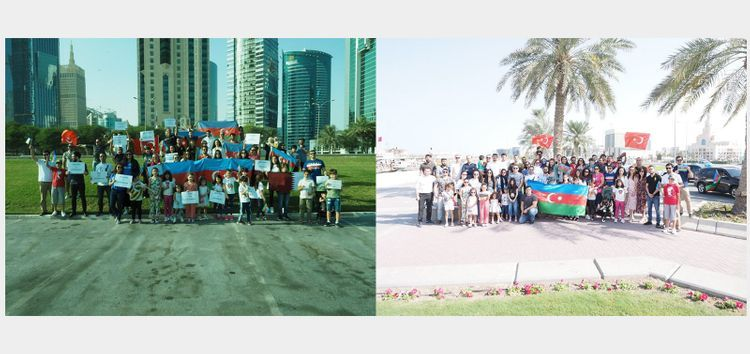 Azerbaijanis living in Qatar hold automobile march in support of victory