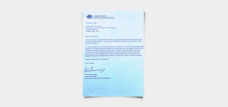 Australian government supports territorial integrity of Azerbaijan