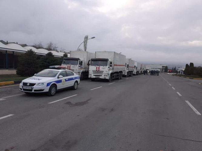 МЧС Азербайджана сопроводил гуманитарный караван, отправленный из России в Шушу и Ханкенди - ВИДЕО