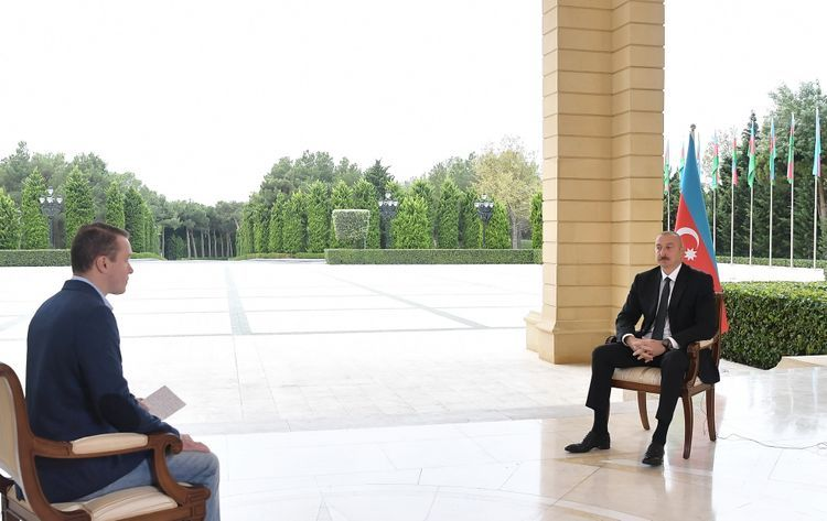 """President Ilham Aliyev was interviewed by Russian """"Perviy Kanal"""" TV"""