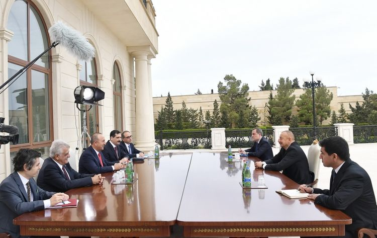 President Ilham Aliyev received delegation led by Turkish Foreign Minister - <span class=