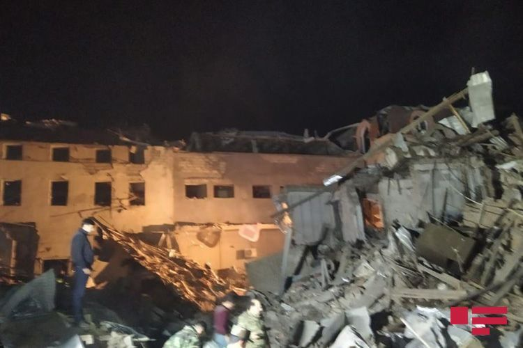17 wounded and 5 bodies removed from the rubble of houses in Ganja city destroyed by Armenian rocket fire, Azerbaijan's Emergencies Ministry says