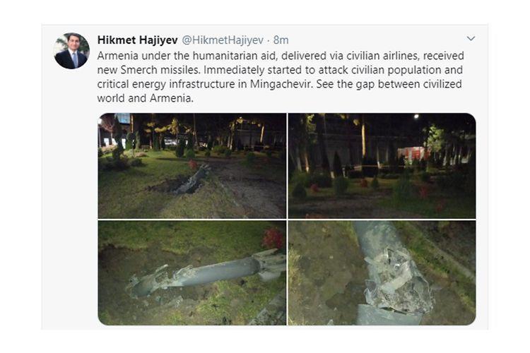 "Hikmat Hajiyev: ""Armenia under the humanitarian aid, receives new Smerch missiles"""