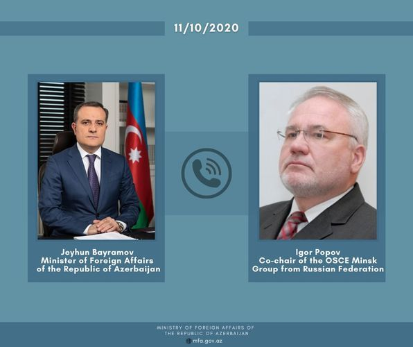 Jeyhun Bayramov brougth into attention to Russian co-chair about shelling of Ganja with rocket fire by Armenian Armed Forces