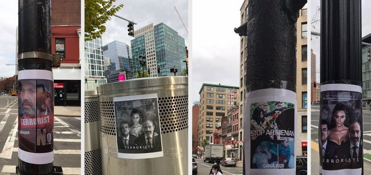 Azerbaijanis in Boston disseminated placards regarding Armenia's occupational actions