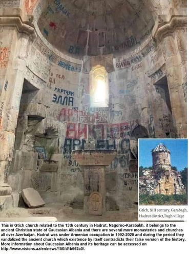 Albanian church in Hadrut was also subjected to Armenian vandalism