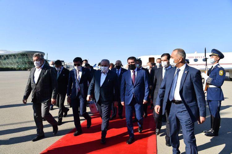 Speaker of Grand National Assembly of Turkey Mustafa Sentop arrives in Azerbaijan for official visit