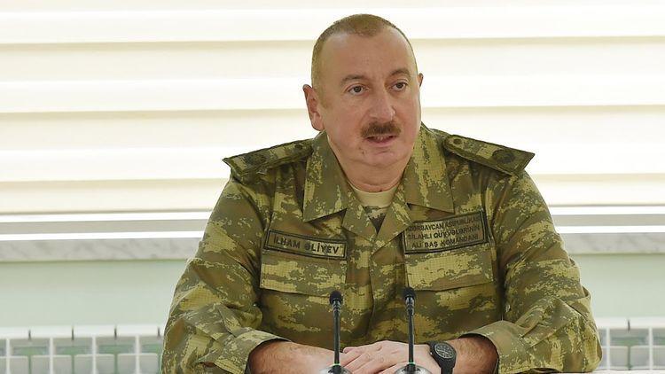 President Ilham Aliyev congratulates Chief  of SBS on hosting Azerbaijani flag on Khudafarin Bridge