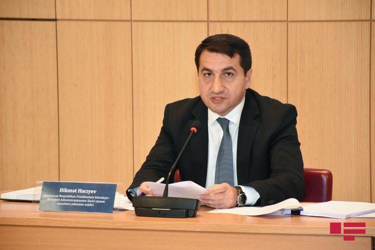 "Hikmat Hajiyev: ""We also appealed to Armenia through Kasprzyk , to withdraw missile units from Khankendi"""