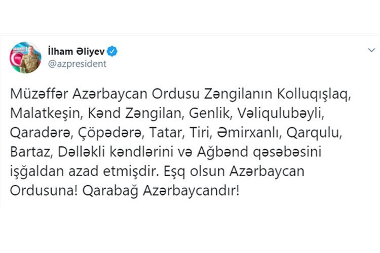 Azerbaijani President: 13 more villages and one settlement of Zangilan liberated from occupation