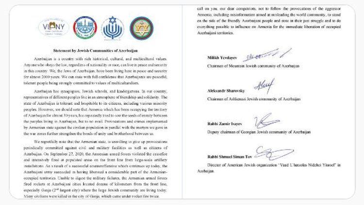 Jewish communities of Azerbaijan appealed to Jews and Jewish organizations around the world