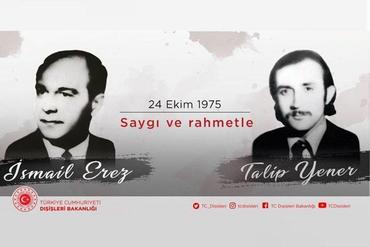 Turkey's MFA shared a post regarding Turkish diplomat killed in France as a result of ASALA's attack