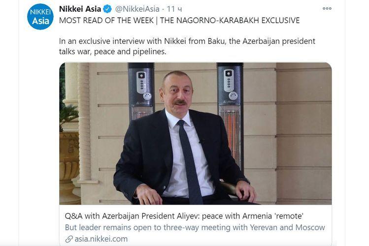 Интервью президента Ильхама Алиева стало самой читаемой статьей