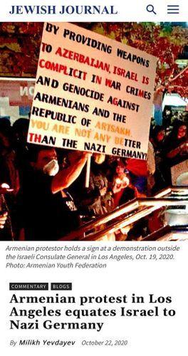 Сравнение армянским лобби в Лос-Анджелесе Израиля с нацистской Германией вызвало серьезное недовольство у еврейской общины США