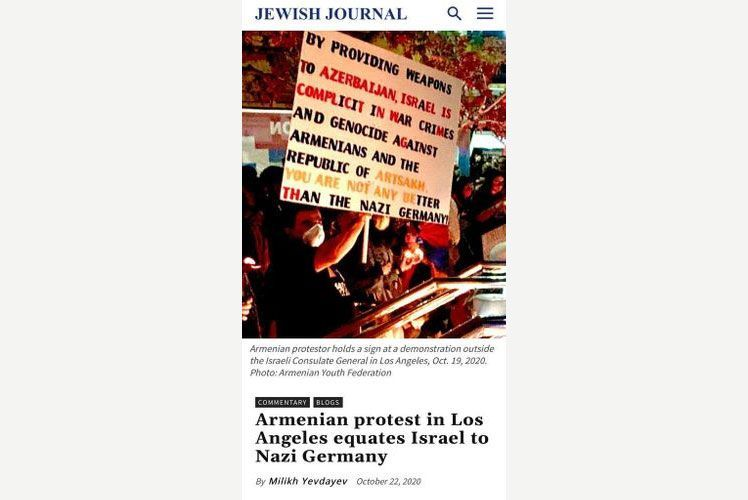 """""""Jewish Journal"""" publishes an article on Armenian protest in Los Angeles equating Israel to Nazi Germany"""