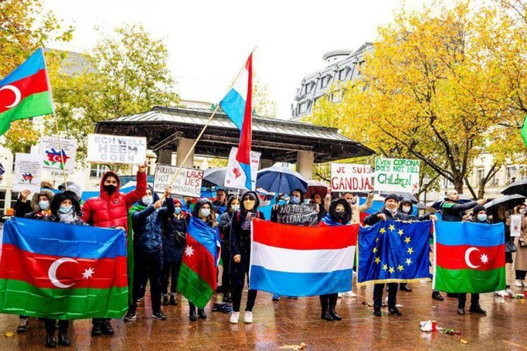 Protest rally held in Luxemburg, against terrorist acts committed in Ganja