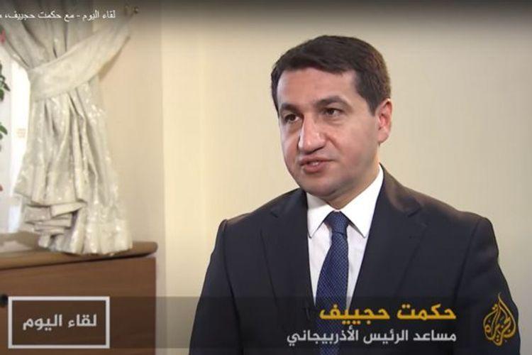 Assistant to Azerbaijani President Hikmat Hajiyev interviewed by Al Jazeera TV channel