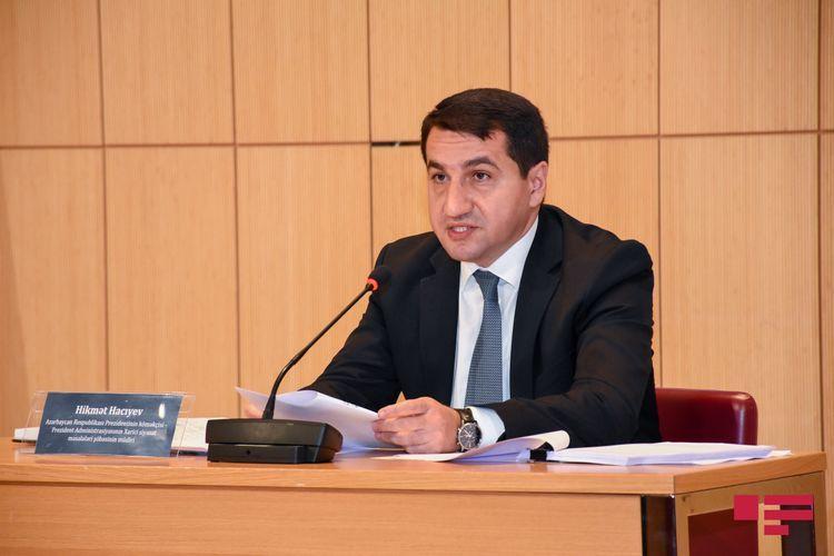 "Hikmat Hajiyev: ""Armenia's war crimes against Azerbaijani people continue"""