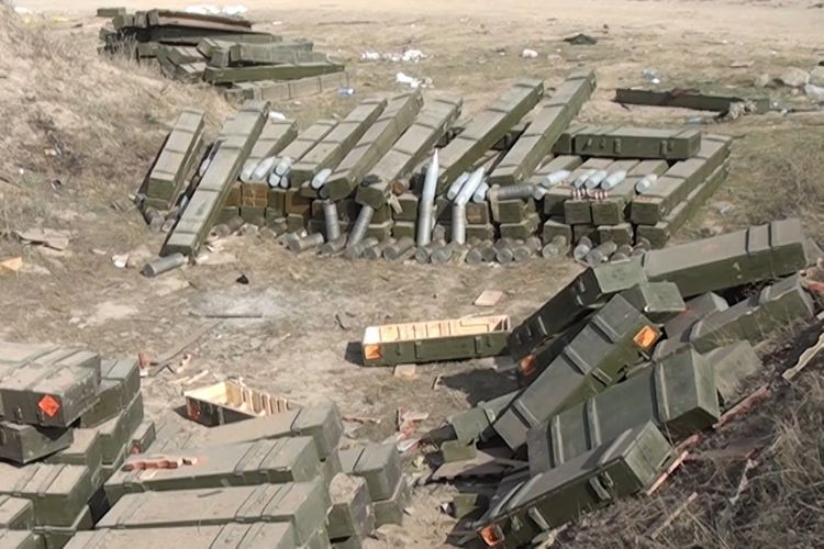 Azerbaijan's Defense Ministry releases video footages of ammunition and armored vehicles left by enemy on battlefield - VIDEO