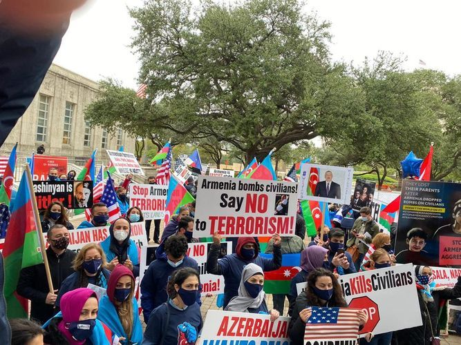 Protest was made in Texas against terrorist acts committed by Armenians in Azerbaijan's Barda and Ganja cities