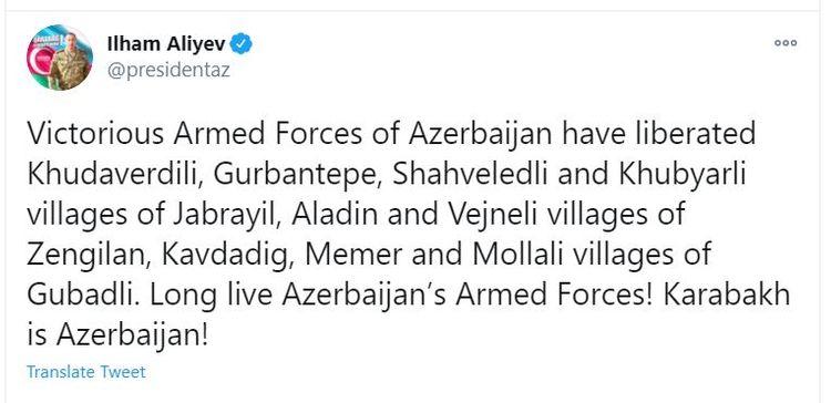 Azerbaijani Army has liberated 9 villages of Jabrail, Zangilan and Gubadly