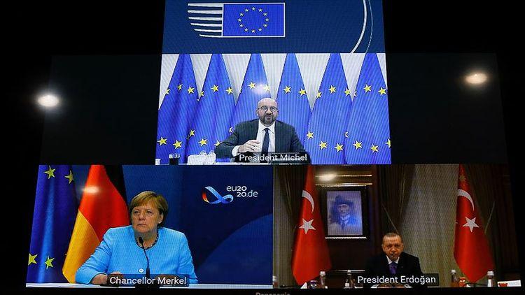 Ərdoğan, Merkel və Şarl Mişelin üçtərəfli videokonfrans formatında görüşü olub