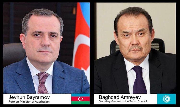 Azerbaijani FM and Secretary General of the Turkic Council hold phone talk