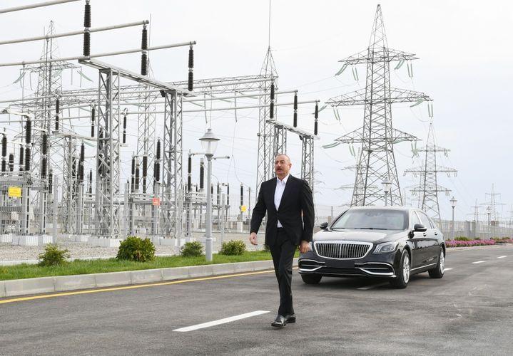 Президент Ильхам Алиев принял участие в открытии подстанций «Говсан» и «Маштага» - <span class=