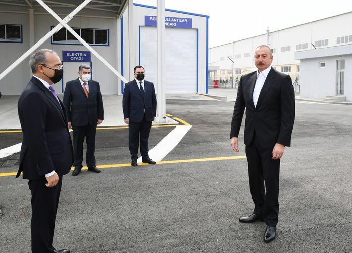 Президент Ильхам Алиев принял участие в открытии Гаджигабульского промышленного квартала - <span class=