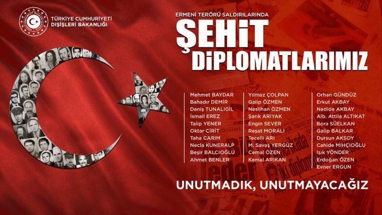 МИД Турции поделился публикацией в память о турецких дипломатах, ставших жертвами армянского террора