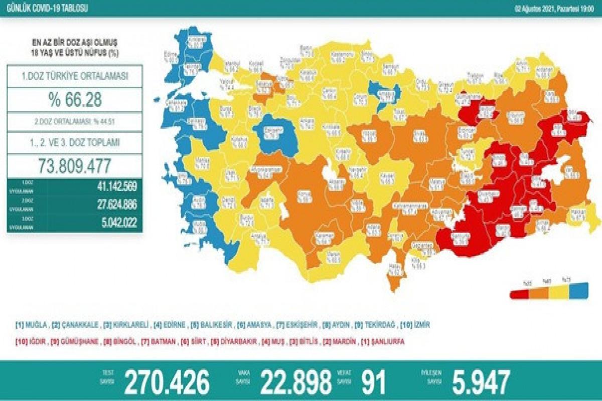 Türkiyədə bu gün koronavirusdan 91 nəfər ölüb