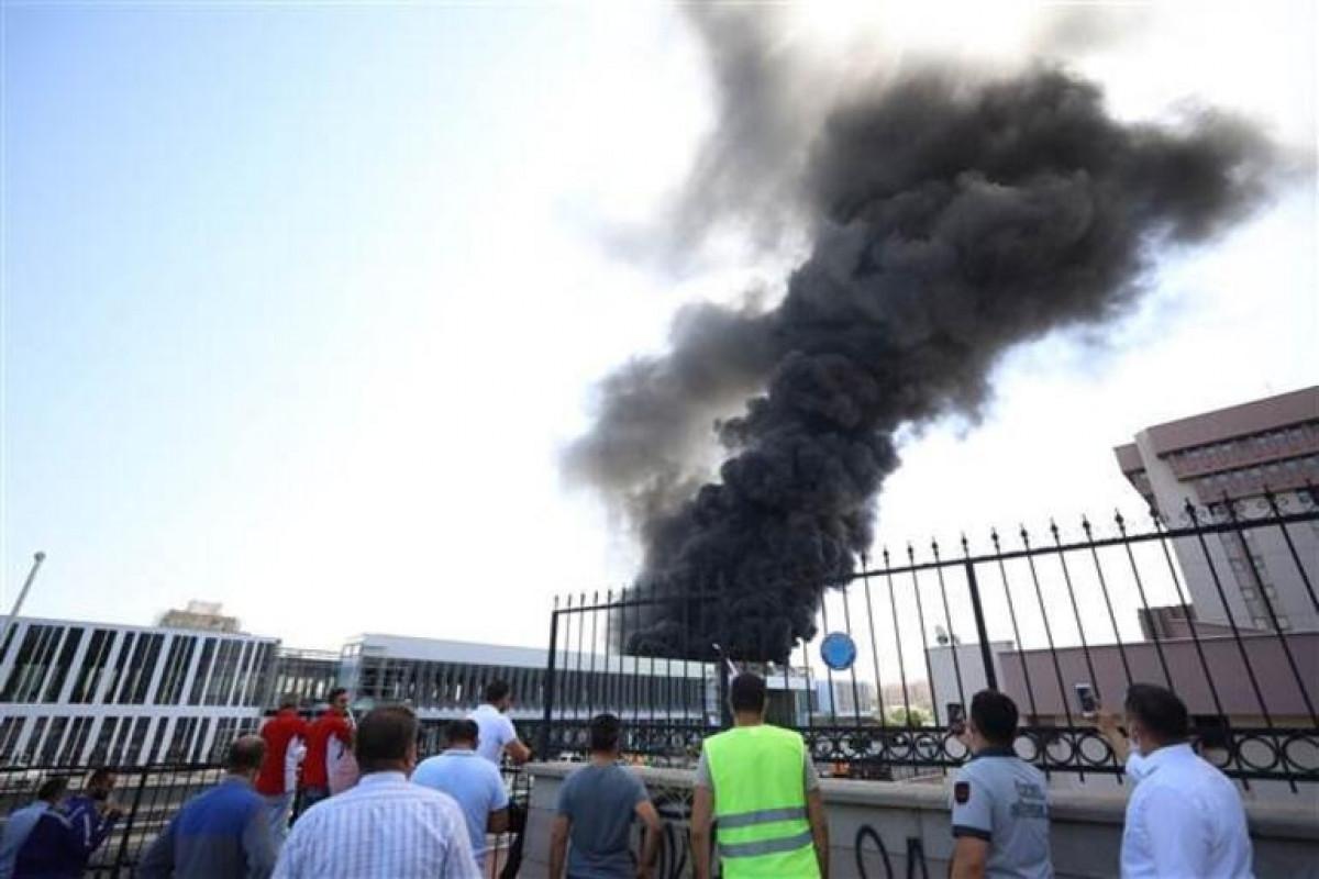 A fire breaks out near the Ankara railway station