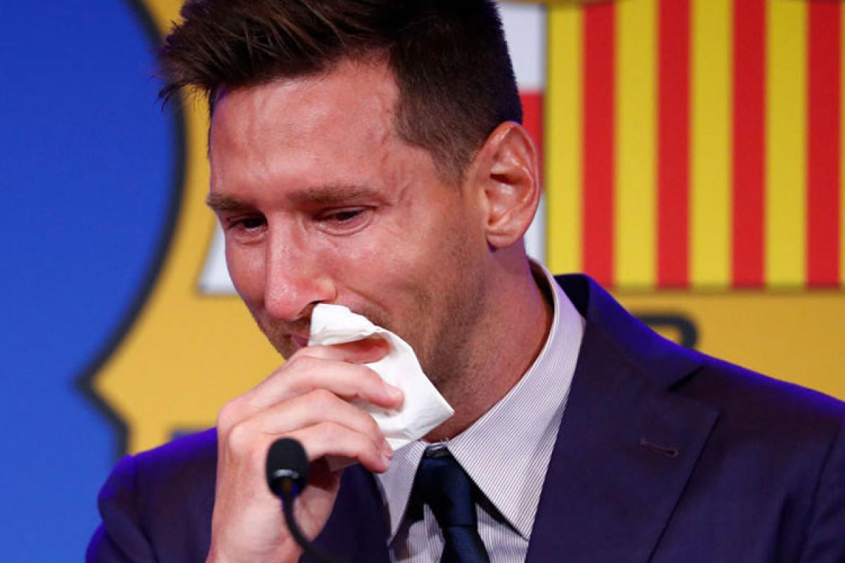 """Messi """"Barselona"""" ilə vidalaşarkən ağlayıb"""