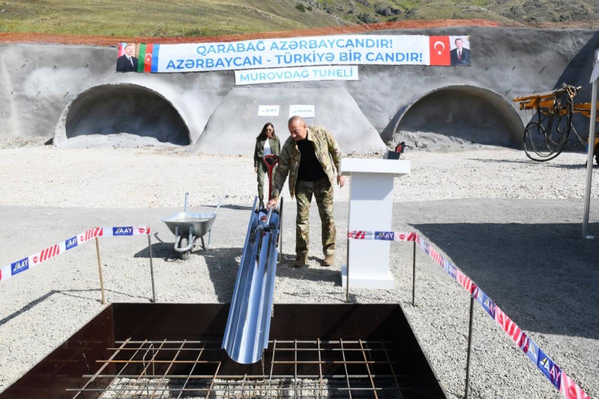 Azerbaijani President laid the foundation of Murovdag tunnel