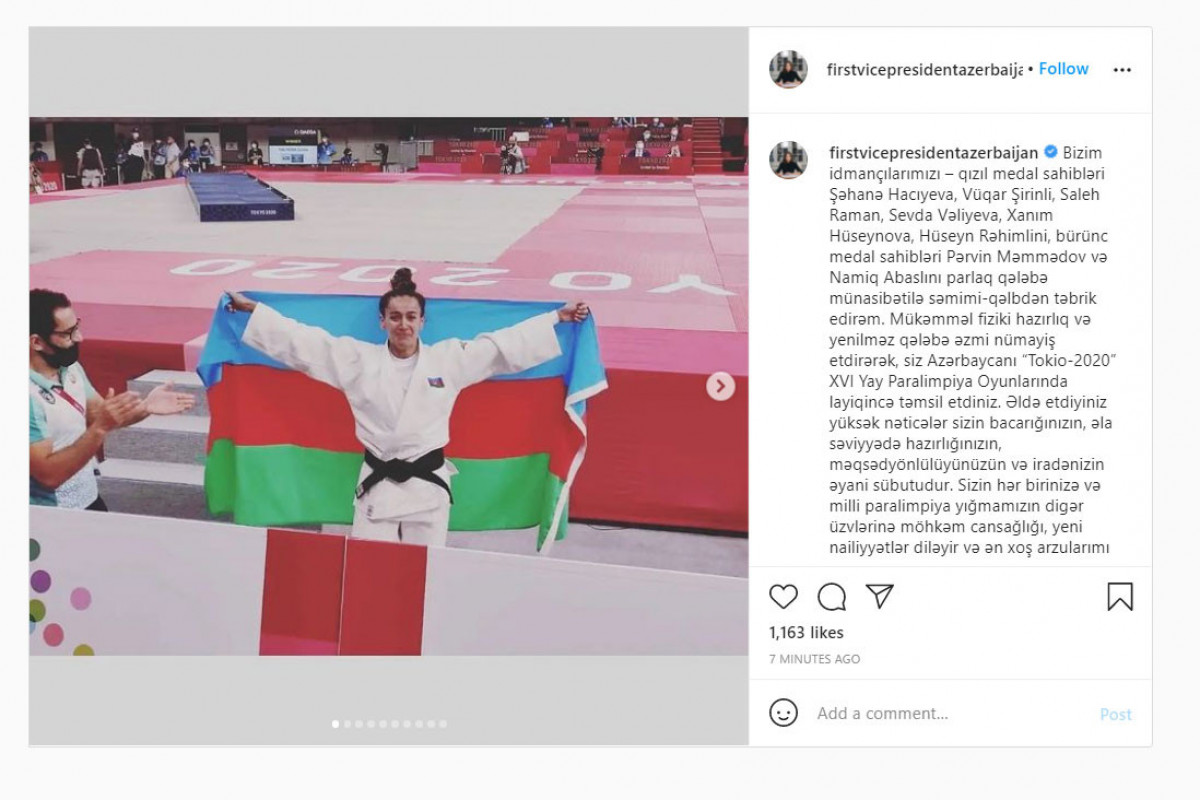 Mehriban Əliyeva Paralimpiya Oyunlarında qalib gələn idmançıları təbrik edib