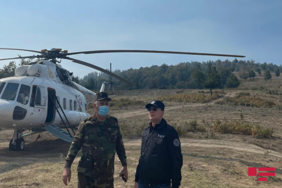 Minister Kamaladdin Heydarov on the fire broke out mountainous areas with complicated relief in Gabala
