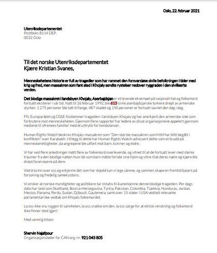 Diaspor təşkilatı Norveç hökumətini Xocalı soyqırımını tanımağa çağırıb