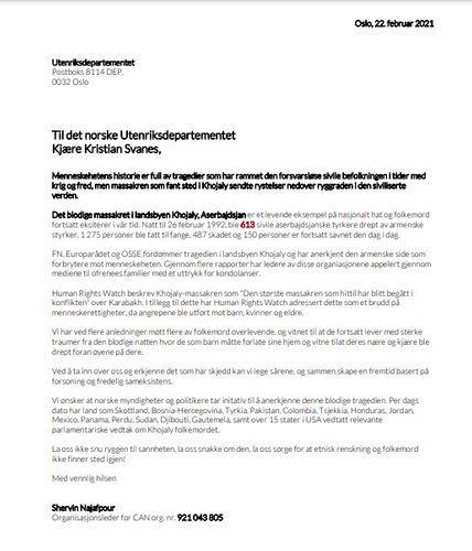 Diaspora organization calls on Norwegian government to recognize Khojaly genocide