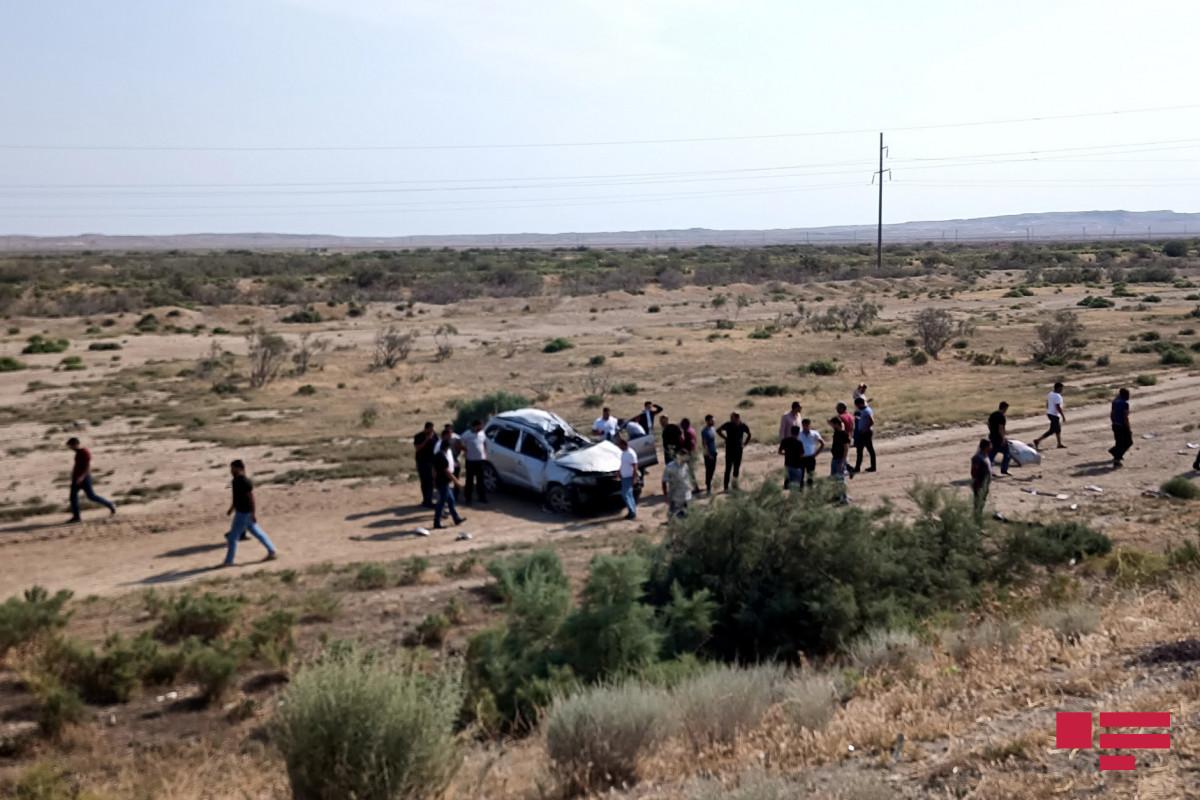На шоссе Баку-Газах перевернулся автомобиль, есть погибший-ФОТО -ОБНОВЛЕНО