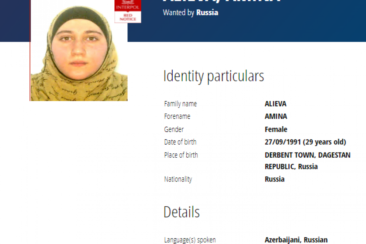 Russia declares wanted an Azerbaijani woman accused of terrorism