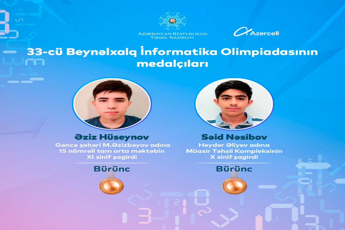 With the support of Azercell, students won two medals at the International Olympiad in Informatics!
