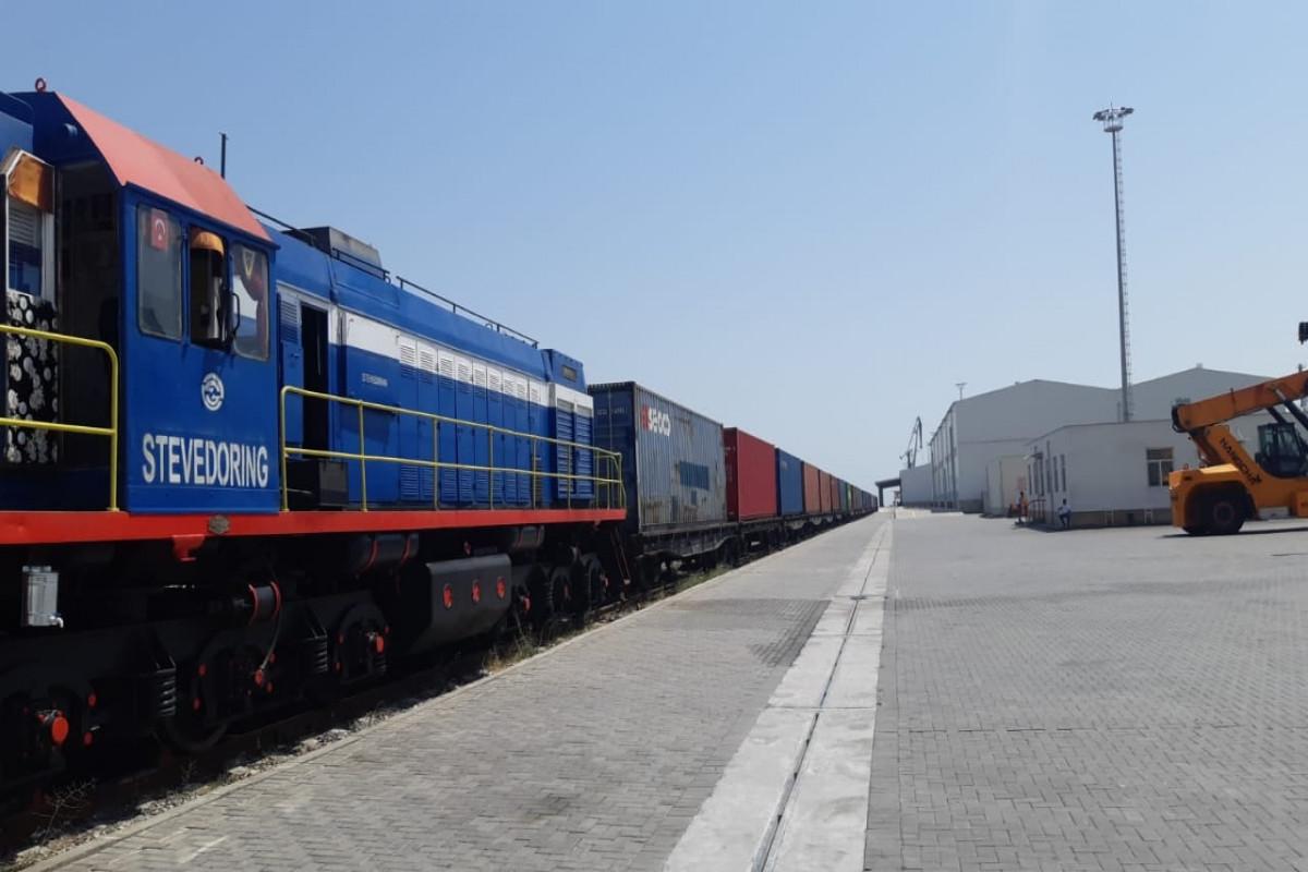 Türkiyədən Çinə yük daşıyan növbəti konteyner qatarı Bakı Limanına çatıb