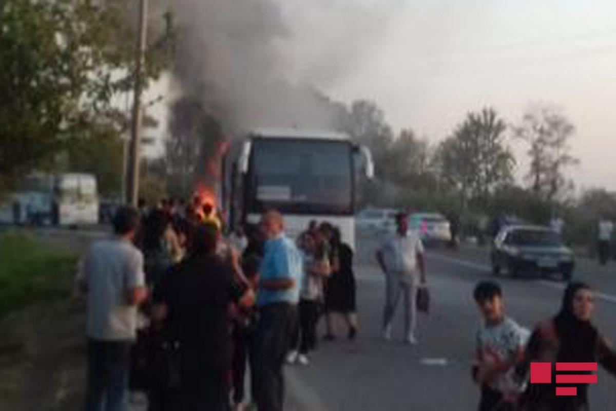 A Baku-Mingachevir passenger bus caught fire